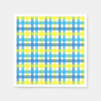 Serviettes En Papier Partie bleue et jaune fraîche de rayures