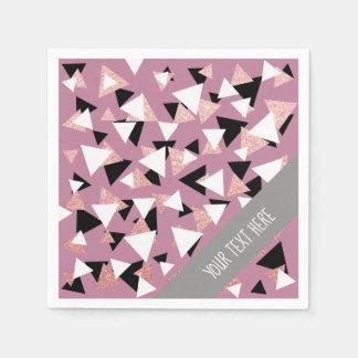 Serviettes En Papier Parties scintillantes roses d'or de triangles
