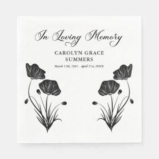 Serviettes En Papier Pavots élégants dans l'enterrement affectueux de
