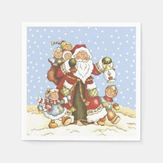 Serviettes En Papier Père Noël avec des enfants de lanterne dans la