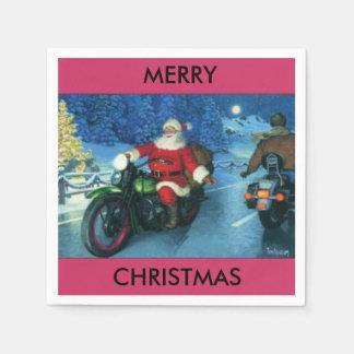Serviettes En Papier Père Noël sur une serviette de papier de moto