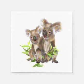 Serviettes En Papier Petit art animal australien mignon d'ours de koala