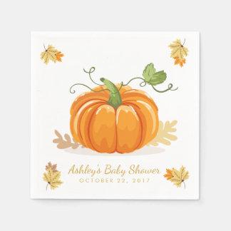 Serviettes En Papier Peu de congé de baby shower d'automne de serviette