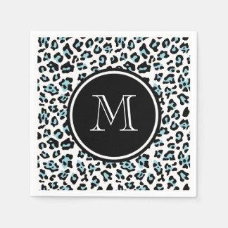 Serviettes En Papier Poster de animal noir de léopard d'Aqua avec le