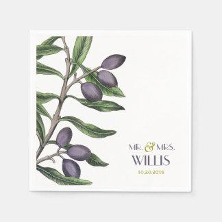 Serviettes En Papier Pourpre vert de la branche | d'olivier