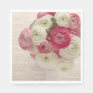 Serviettes En Papier Ranunculus rose et blanc sur le manuscrit