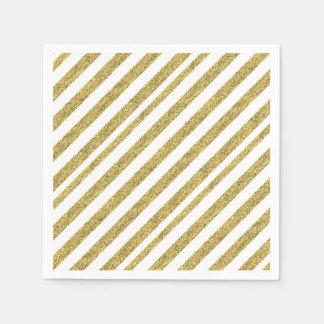 Serviettes En Papier Rayures de parties scintillantes d'or