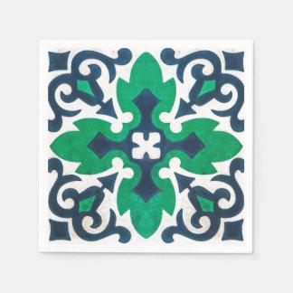 Serviettes En Papier Remous grunge de vert bleu de damassé