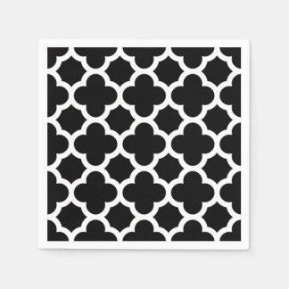 Serviettes En Papier Rétro motif chic blanc noir mignon de treillis
