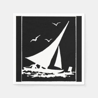 Serviettes En Papier Rétro silhouette de voilier