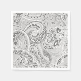 Serviettes En Papier Rétros bandanna/Bandana blancs de Paisley