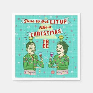 Serviettes En Papier Rétros vacances potables adultes de fête de Noël