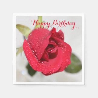 Serviettes En Papier Roses - joyeux anniversaire