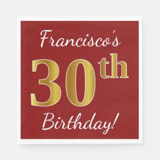 Serviettes En Papier Rouge, anniversaire d'or de Faux 30ème + Nom fait