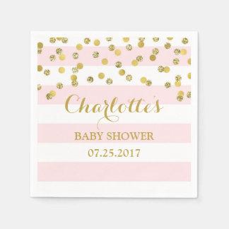 Serviettes En Papier Rougissent le baby shower rose de confettis d'or