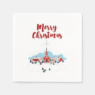 Serviettes En Papier Scène d'hiver avec une étoile rouge d'église et de