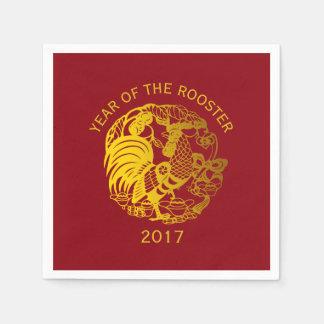 Serviettes En Papier Serviette 2017 de papier de zodiaque d'année d'or