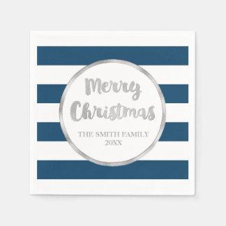 Serviettes En Papier Serviette argentée de Joyeux Noël de rayures