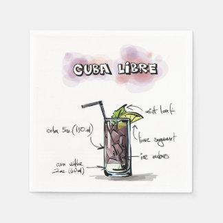 Serviettes En Papier Serviette de cocktail de recette de boissons du