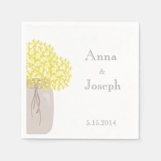 Serviettes En Papier Serviette de mariage de jaune de pot de maçon