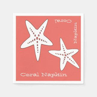 Serviettes En Papier Serviette de papier de corail d'étoiles de mer
