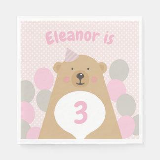 Serviettes En Papier Serviette de papier de nounours d'anniversaire