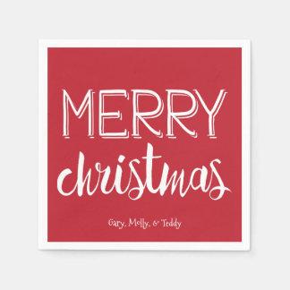 Serviettes En Papier Serviette de vacances de monogramme de Joyeux Noël
