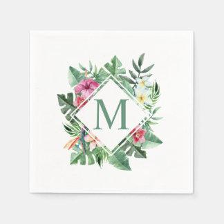 Serviettes En Papier Serviette florale tropicale du monogramme | de