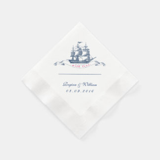 Serviettes En Papier Serviette vintage de cocktail de bleu marine et de