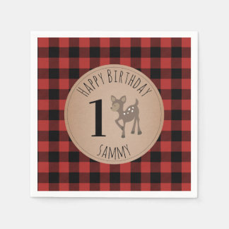 Serviettes En Papier Serviettes d'anniversaire de bébé de plaid de