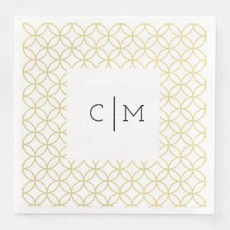 Serviettes En Papier Serviettes de dîner géométriques de mariage de