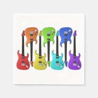 Serviettes En Papier Serviettes de papier colorées de guitares