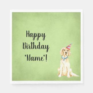 Serviettes En Papier Serviettes de papier de Birithday de chien heureux