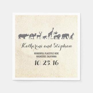 Serviettes En Papier serviettes de papier de faune de mariage ou de