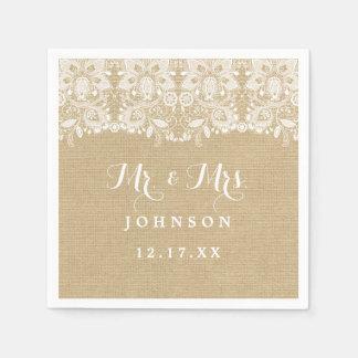 Serviettes En Papier Serviettes de papier de mariage rustique de