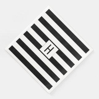 Serviettes En Papier Serviettes de papier de monogramme noir et blanc
