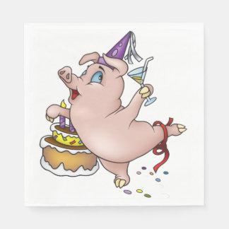 Serviettes En Papier Serviettes de papier de porc d'anniversaire
