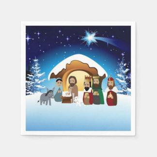 Serviettes En Papier Serviettes de papier de scène de nativité de Noël