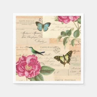 Serviettes En Papier Serviettes de papier vintages Girly avec l'oiseau