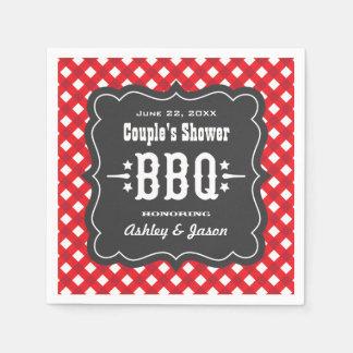 Serviettes En Papier Serviettes de plaid de guingan de BBQ | rouge et