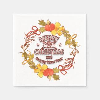 Serviettes En Papier Serviettes élégantes de Noël de lettrage