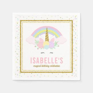 Serviettes En Papier Serviettes magiques d'arc-en-ciel et de licorne