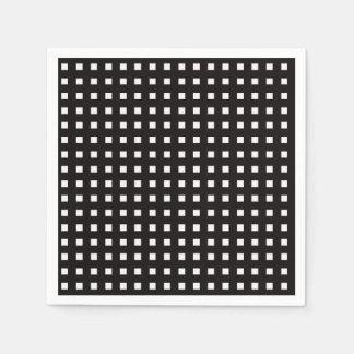 Serviettes En Papier Serviettes noires et blanches de guingan