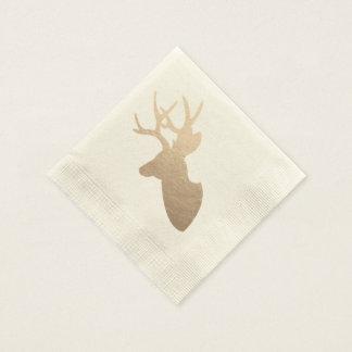 Serviettes En Papier Silhouette d'or de cerfs communs