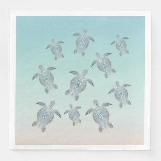 Serviettes En Papier Style argenté de plage de tortues