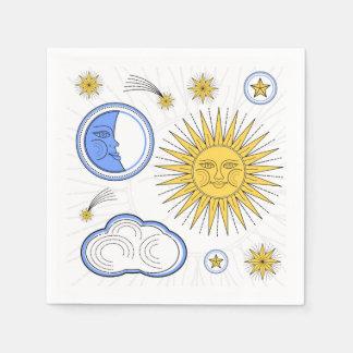 Serviettes En Papier Sun vintage et lune