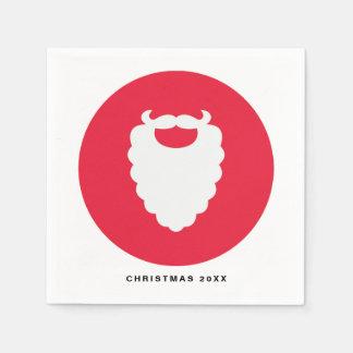 Serviettes En Papier Vacances modernes de barbe rouge et blanche de