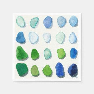 Serviettes En Papier Verre de mer, serviettes en verre d'art de plage