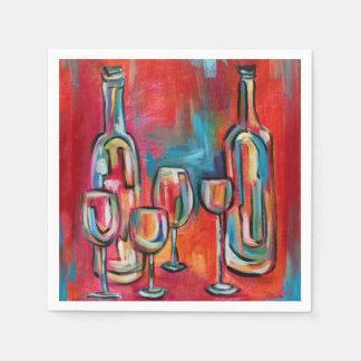 Serviettes En Papier Verres et bouteilles de vin