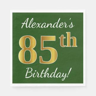 Serviettes En Papier Vert, anniversaire d'or de Faux 85th + Nom fait